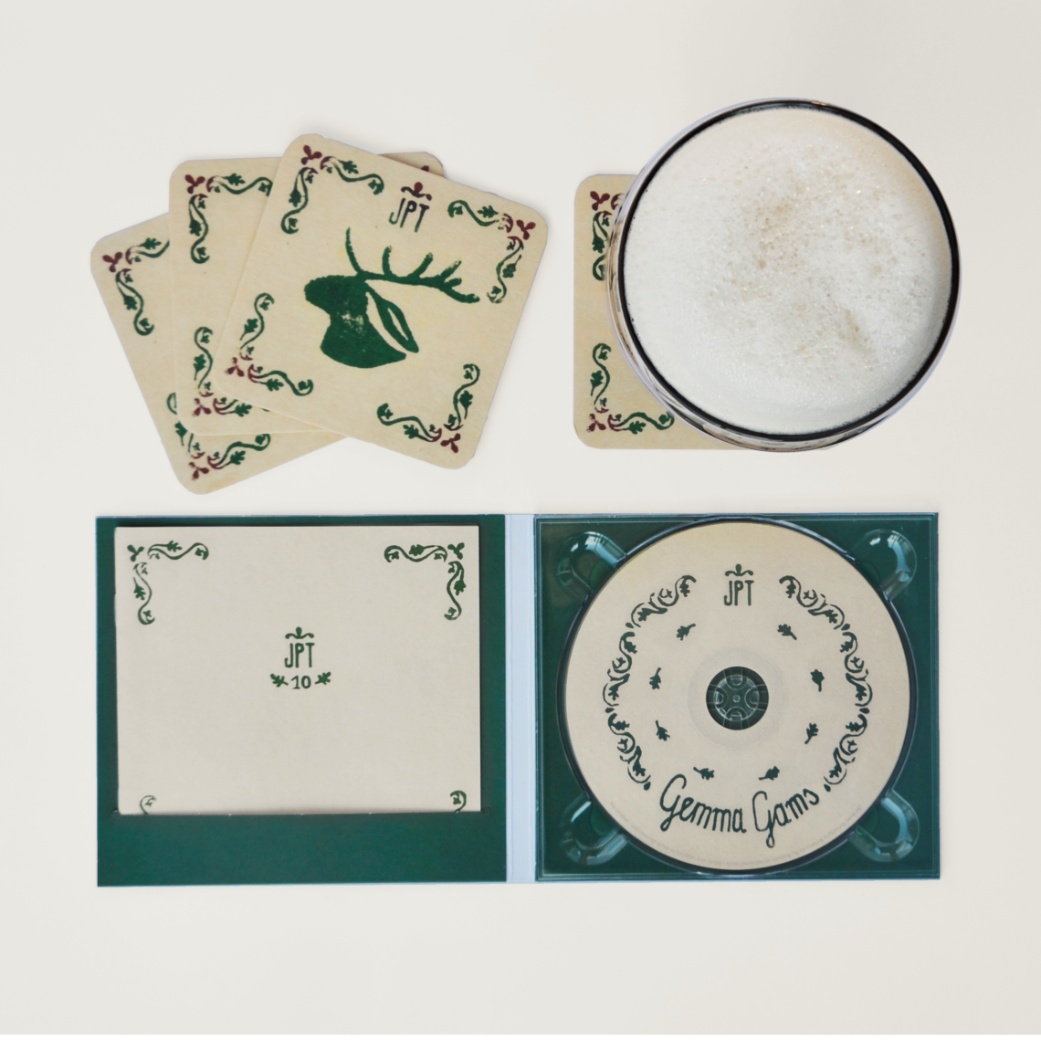 disc, booklet, beer mats
