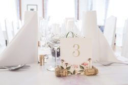 floral wedding table shield wine corcs