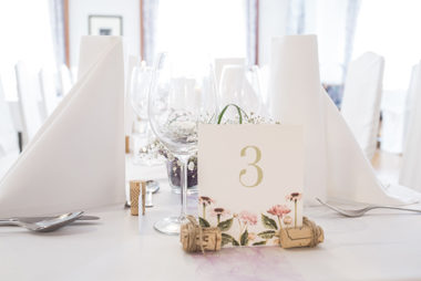 floral wedding table shield wine corcs