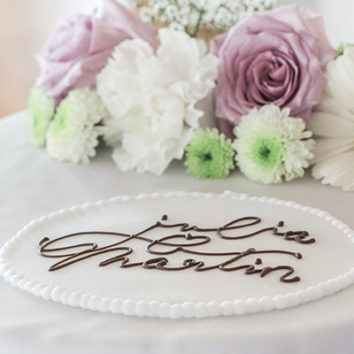 floral wedding cake with chocolate