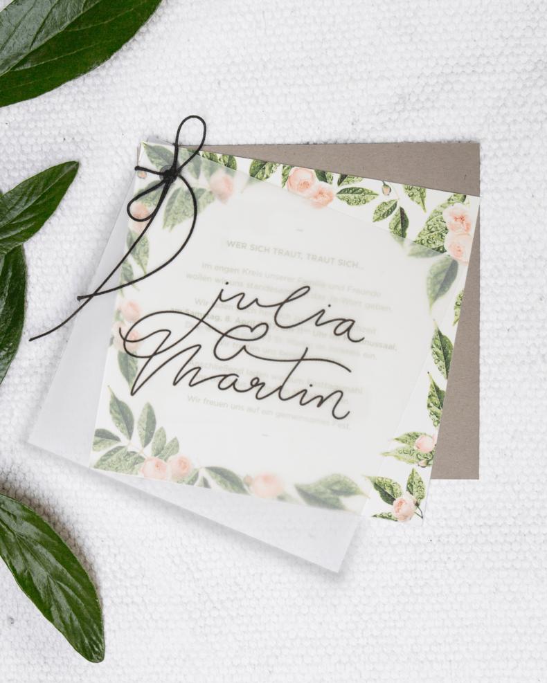 Invitation1 floral wedding transparent paper, natural blanc, craft paper