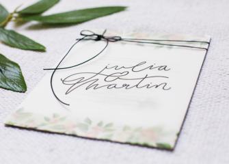 Invitation Church floral wedding waxed twine