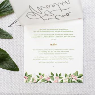 Invitation Church floral wedding flowery invitation