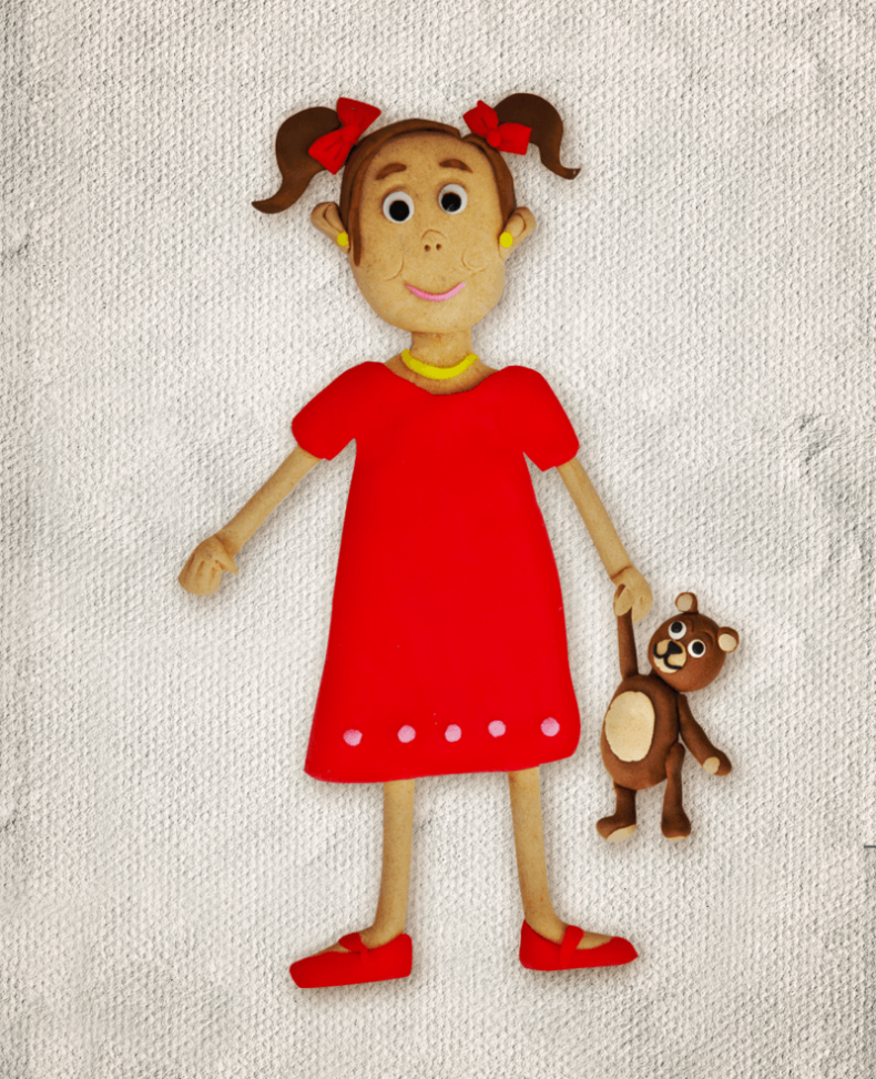 Illustration Plasticine girl teddy