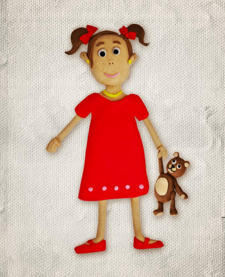 Illustration Plasticine girl teddy